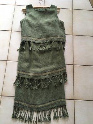 Fringed Dress olive green