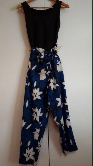 Pantalon palazzo noir-bleu
