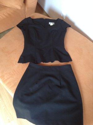 Robe péplum noir polyester