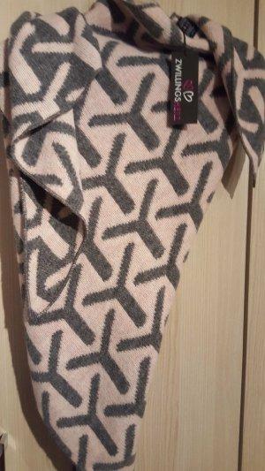 Zwillingsherz Écharpe en tricot rosé-gris tissu mixte