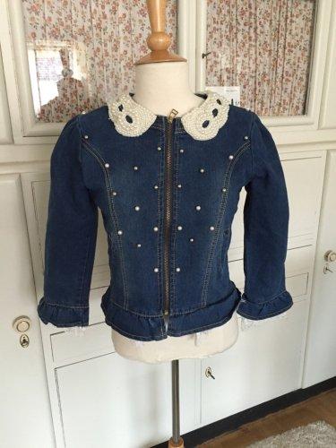 Extravagante jeansjacke mit perlen und spitze gr m - Jeansjacke perlen ...