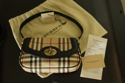original burberry handtasche pochette m rechnung luxus tasche nova check muster. Black Bedroom Furniture Sets. Home Design Ideas