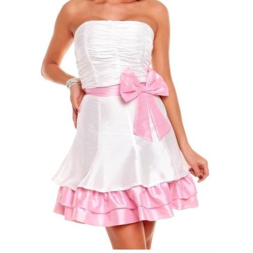 NEU Kleid Cocktailkleid rosa weiss Schleife Abendkleid ...