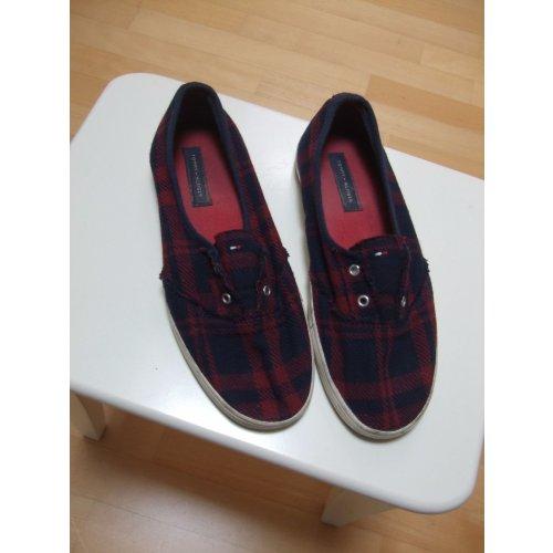 tommy hilfiger slipper damen rot blau kariert gr 9. Black Bedroom Furniture Sets. Home Design Ideas