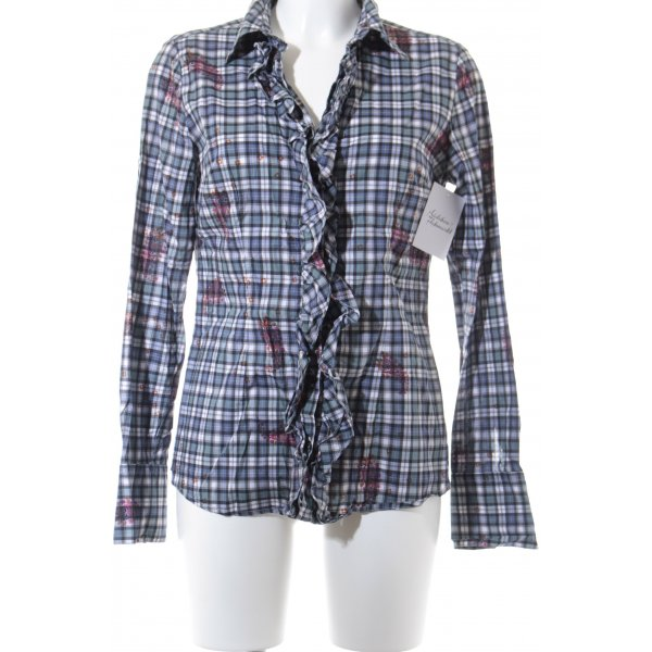 0039 Italy Langarm-Bluse Karomuster Casual-Look