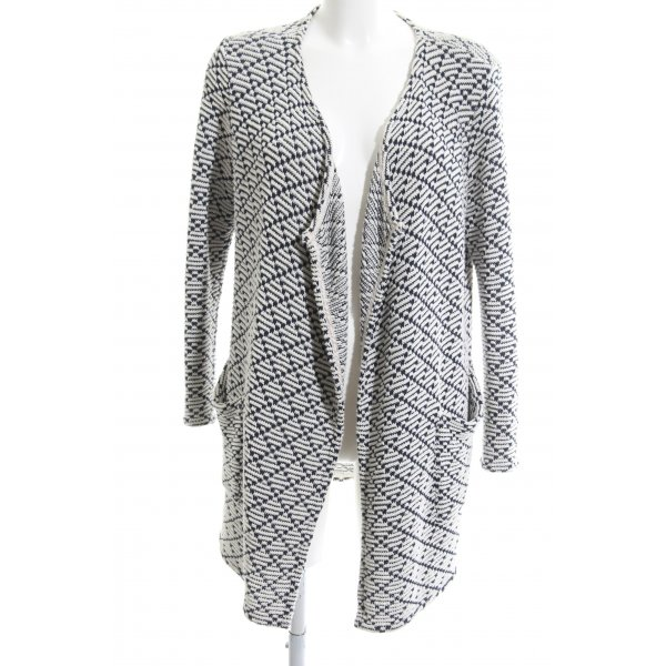 0039 Italy Strick Cardigan weiß-schwarz grafisches Muster Business-Look
