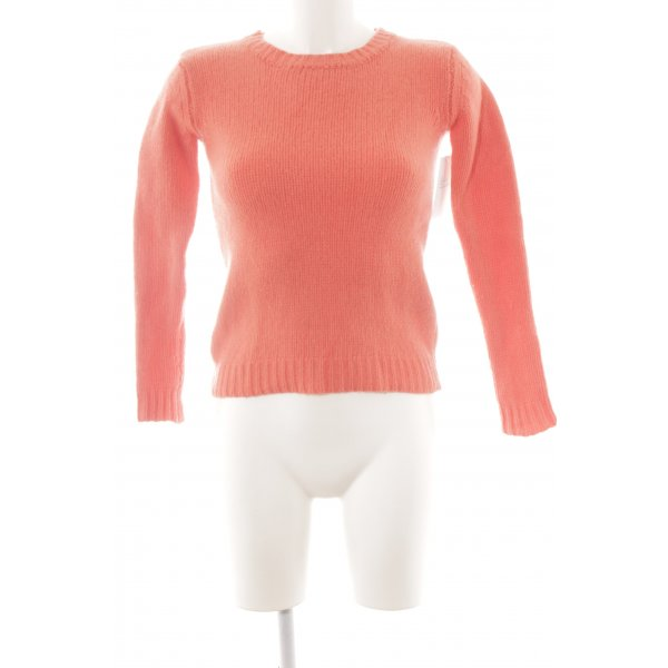 0039 Italy Wollpullover lachs Fischgrätmuster Casual-Look