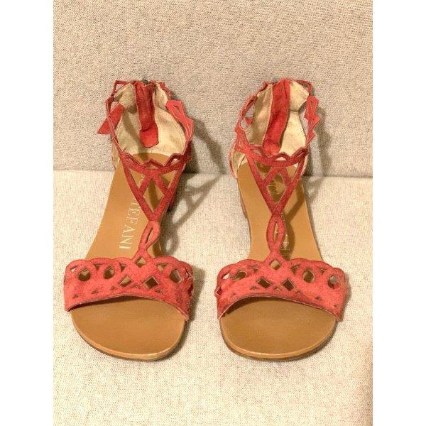 145€ italienische Designer Sommer Schuhe Echtleder Veloursleder perforiertes Leder Römer Riemchen Sandalen Sandaletten Rot 39