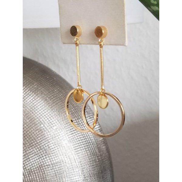 18k Gold Statement-Ohrringe mit Kreis-Anhänger und Plättchen-Anhänger (Handgemacht)
