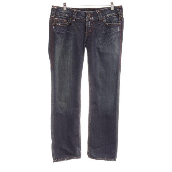 1921 Jeans met rechte pijpen donkerblauw-leigrijs Webpatroon casual uitstraling