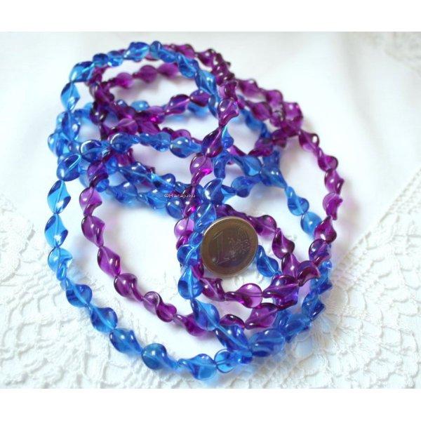 1990er Jahre Wellenketten Lucite Sommerschmuck in lila und blau