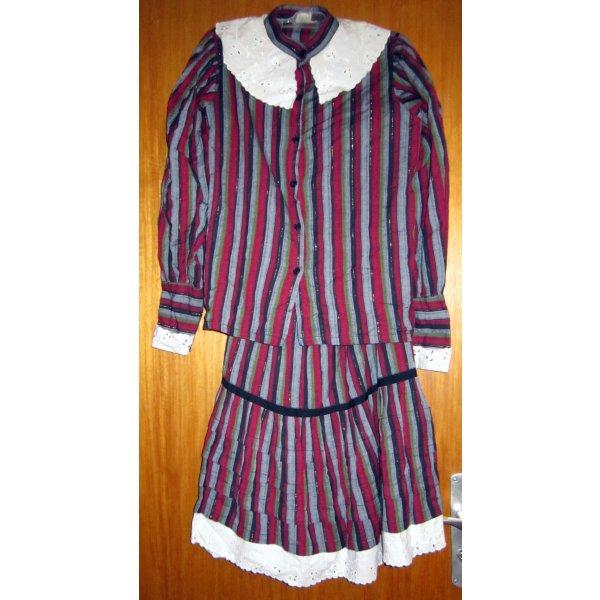 2tlg.Volant-Kleid *Orginal 70'S* Hippi/Westernstyle Gr.34 weinrot/mehrfarbig