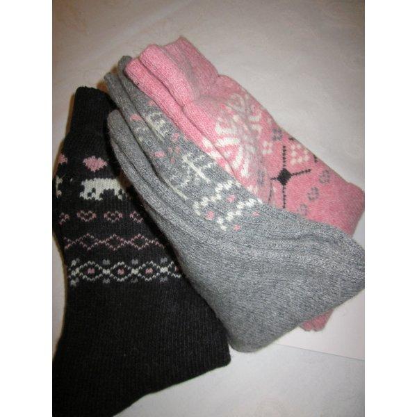 3-er Pack 3 Paar Norweger Socken Strümpfe Kuschelsocken dick Muster altrosa grau schwarz home socks NEU 35-38