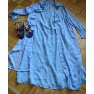 3-Teiler, Kleid, Bluse, Longbluse, hellblau, Gr.42/44, neu