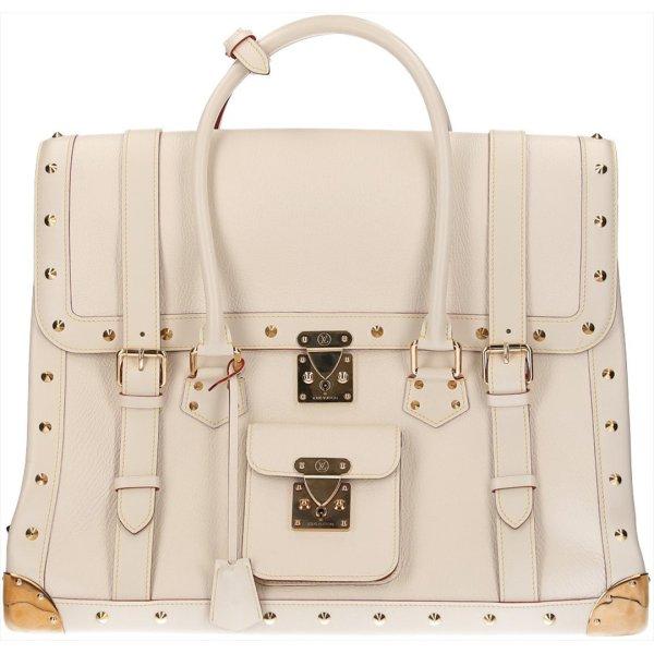 Louis Vuitton Weekendtas wit-goud Leer