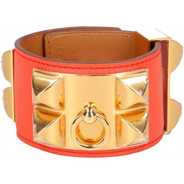 36883 Hermès Collier de Chien Armband in Größe XS aus Epsom Leder in den Farben Poppy Orange und Gold