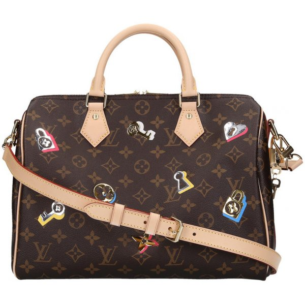 37556 Louis Vuitton Speedy 30 Monogram Love Lock Canvas Handtasche - Tasche