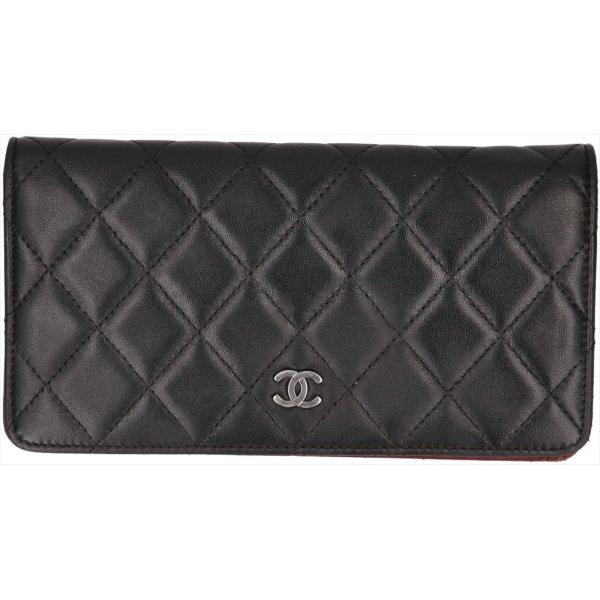 38108 Chanel CC Geldbörse aus Leder in den Farben Schwarz und Silber