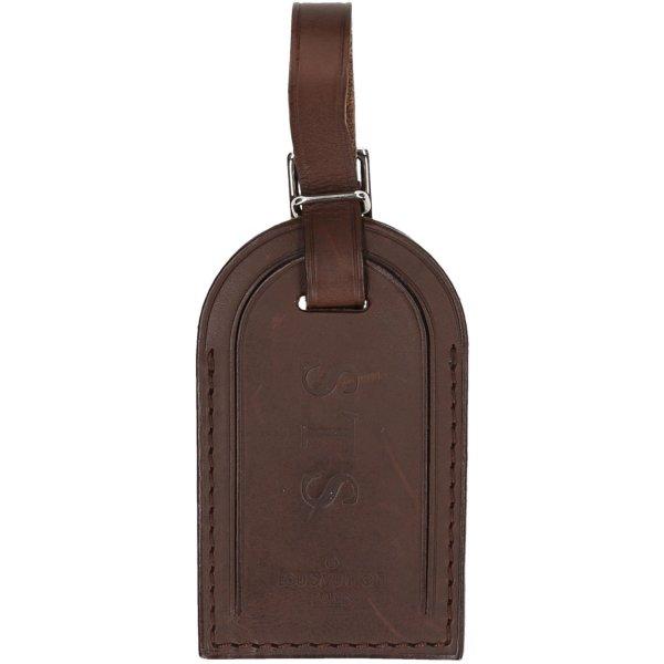 39623 Louis Vuitton Adressanhänger mit eingeprägten Initialen aus Nomade Leder in Dunkelbraun