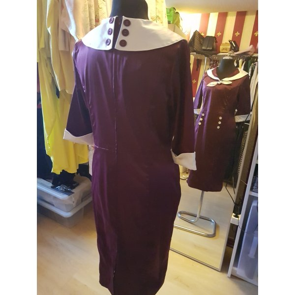 40th Hell Bunny Vixen-Kleid Bordeaux-Creme  XL