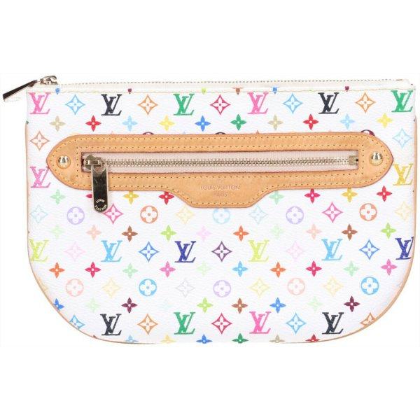 43554 Louis Vuitton Pochette Plate GM Clutch Tasche Handtasche Monogram Multicolore Canvas in Blanc