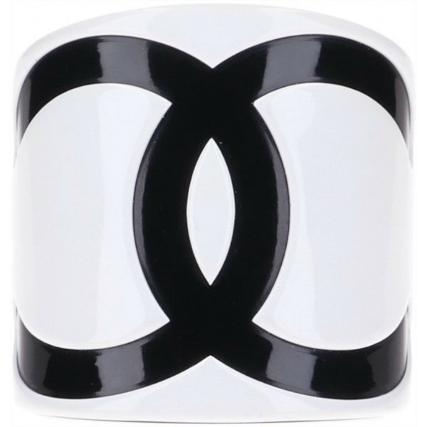 43689 Chanel Armreif aus Kunstharz in weiss und schwarz