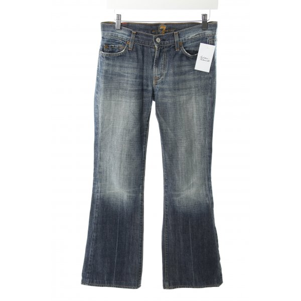 7 For All Mankind Jeansschlaghose dunkelblau Bleached-Optik