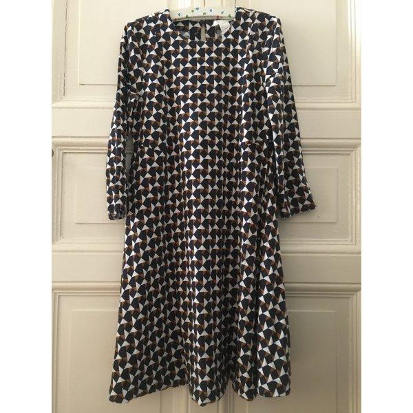 70s retro Kleid geometrisch gemustert mit 3/4-Arm