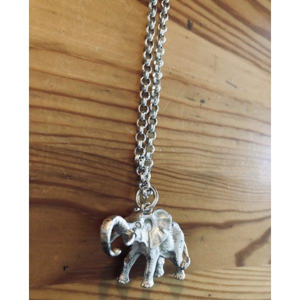 925 Silber Anhänger Elefant mit Halskette