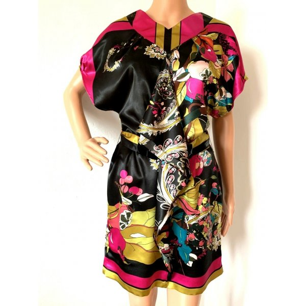 995€ Marc Jacobs Seidenkleid Cocktailkleid Seidentunika Strandkleid Kleid Seide Sommer Tunika Shirt Print 36 38 S M
