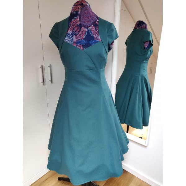 A-Linien Kleid, Petticoat, petrol, Gr M, Rockabilly, Vintage, 1x getragen