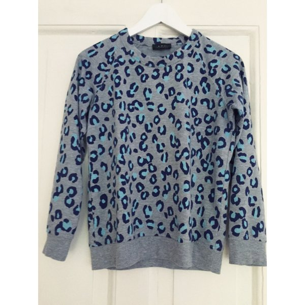 A.P.C. Sweatshirt Leo Leoparden Print blau grau