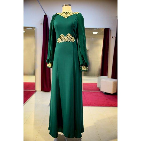 Vestido de noche verde bosque-verde