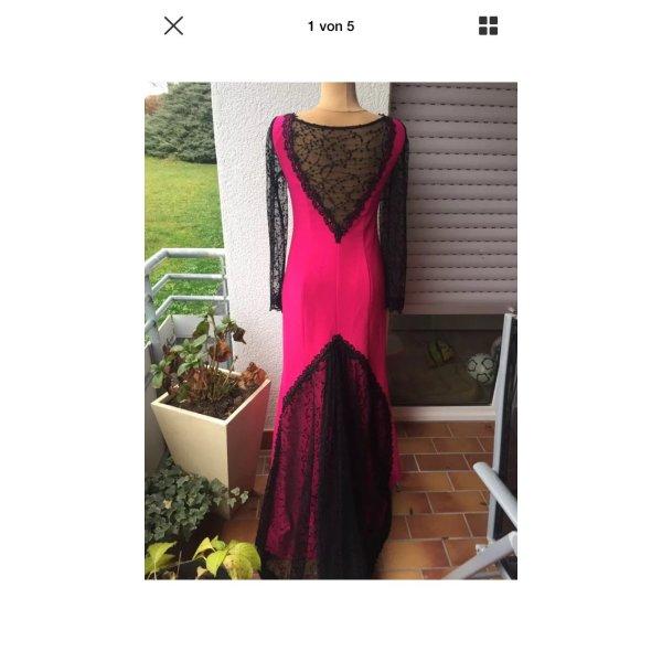 Abendkleid Abiye pink schwarz spitze Details gr 38/40