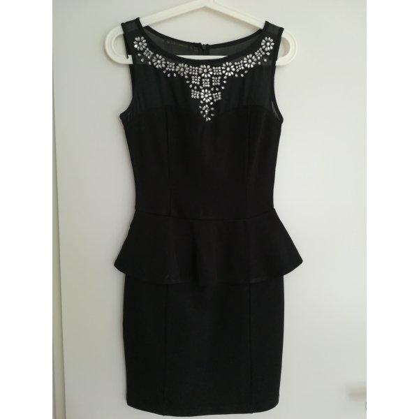 Blanco Vestido de noche negro-color plata Viscosa