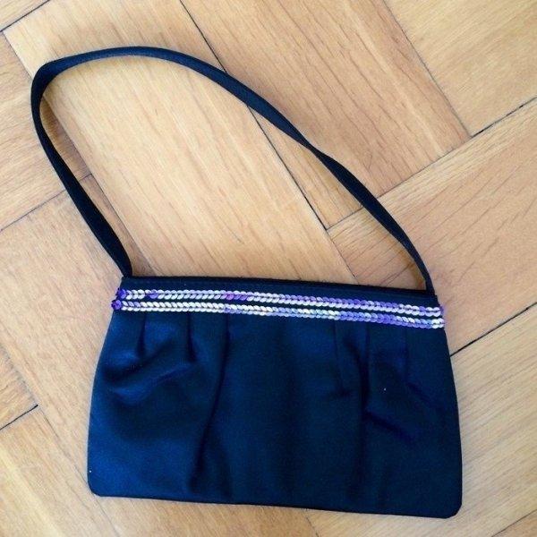 Abendtasche aus Satin mit violetten Pailletten Celine Dion Parfums schwarz, perfekt für Weihnachten und Silvester