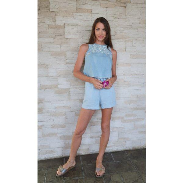 Abercrombie & Fitch besticktes Jeans crop Denim Top Boho Bohemian Ibiza