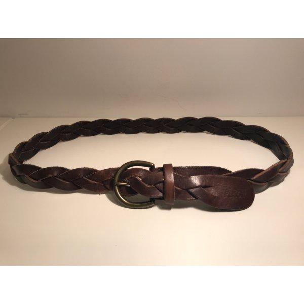 Abercrombie & Fitch Cinturón de cuero marrón oscuro-color oro Cuero