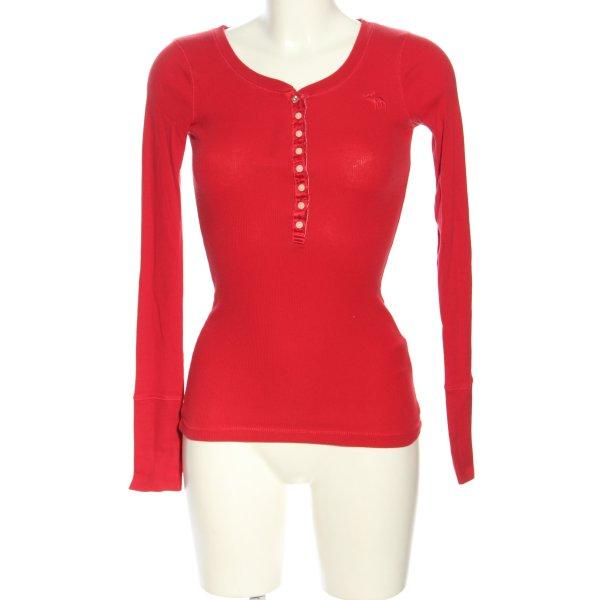 Abercrombie & Fitch Rippshirt rot Schriftzug gestickt Casual-Look