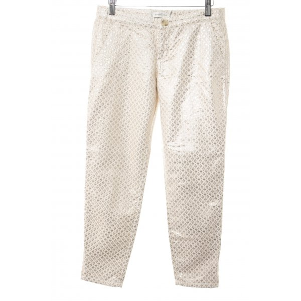 Abercrombie & Fitch Stoffhose hellbeige-goldfarben abstraktes Muster Elegant