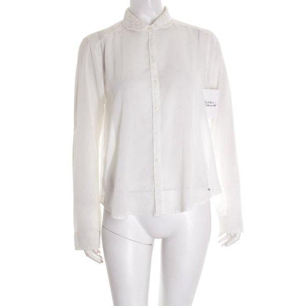 Abercrombie & Fitch Transparenz-Bluse weiß Punktemuster klassischer Stil