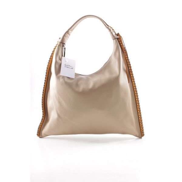 """abro Carry Bag """"Leather Velvet Hobo Bag Natural/Orange"""""""