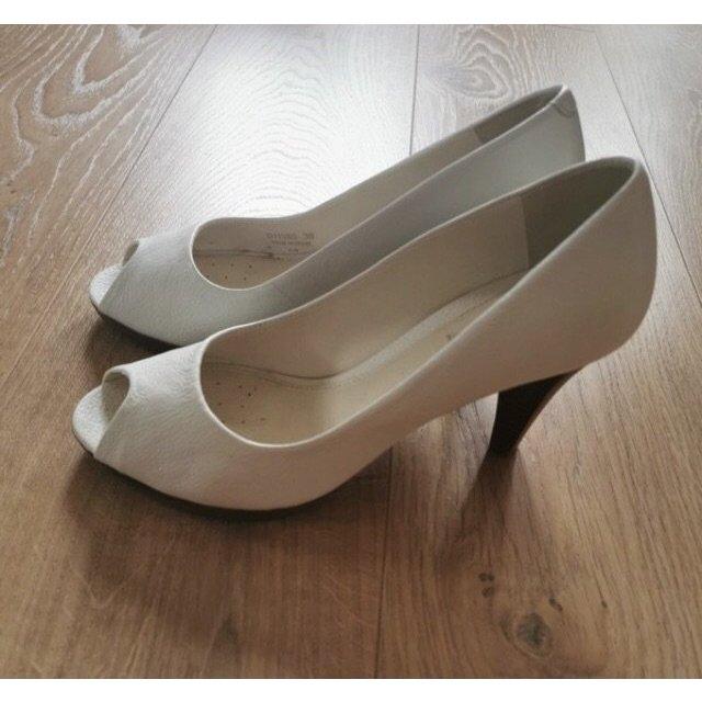 Absatz Schuhe weiße Peep Toe