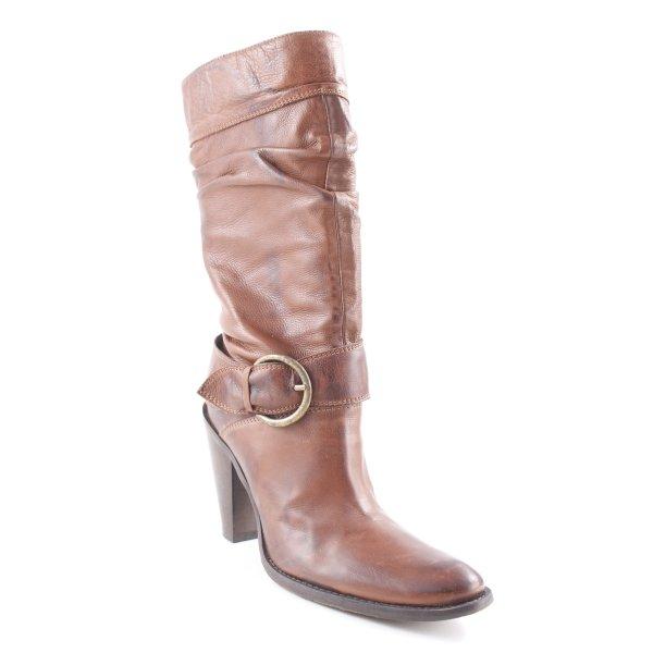 Absatz Stiefel braun-dunkelbraun Casual-Look