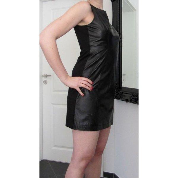 Achtung reduziert! Schwarzbraunes Lederkleid, Minikleid