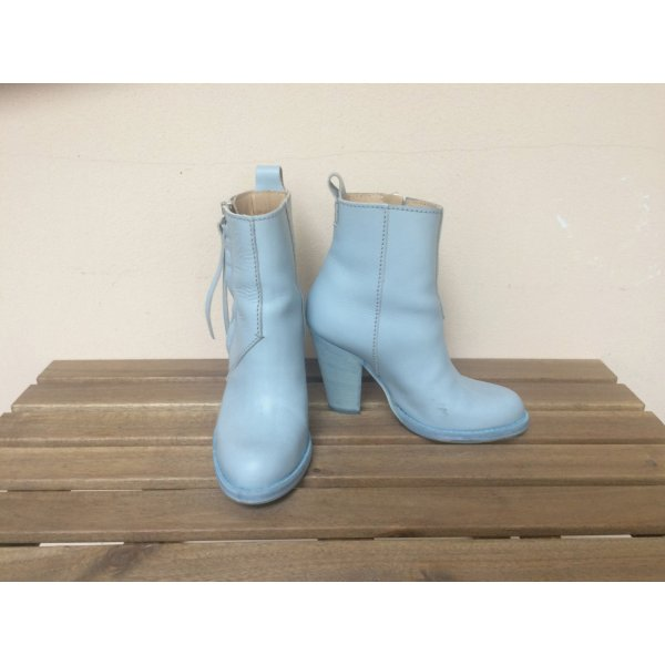 ACNE Colt Boots 38 blau Pastell hohe Variante Pistol Boots 10 cm Absatz wie neu