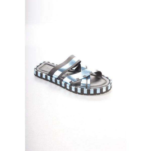 Acne Komfort-Sandalen blau-schwarz Streifenmuster extravaganter Stil