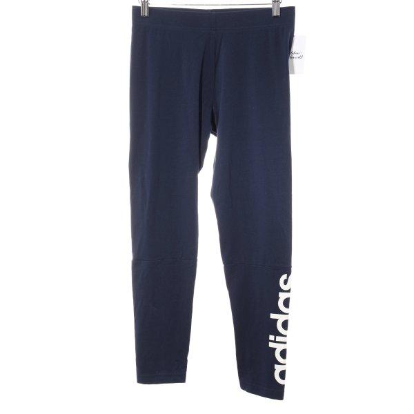 Adidas Leggings dunkelblau Schriftzug gedruckt sportlicher Stil