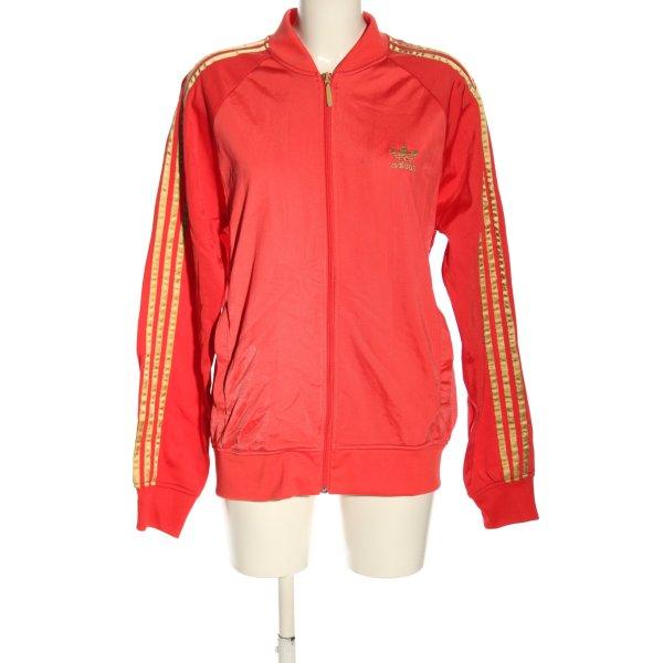 Adidas Sweatjacke rot-goldfarben Streifenmuster Casual-Look