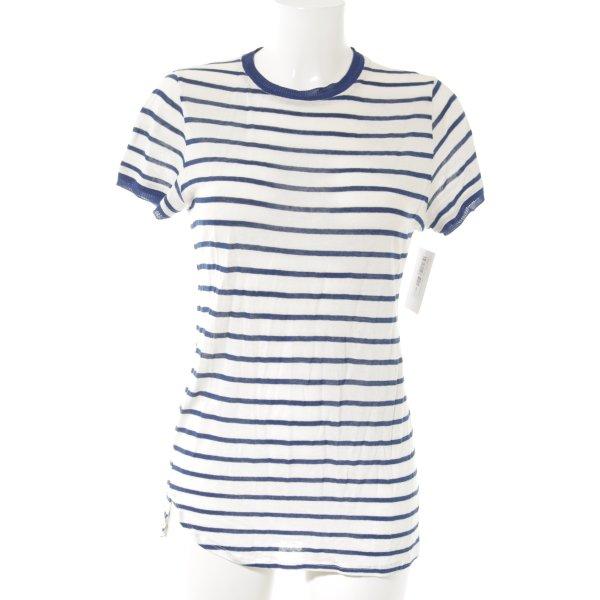 Adolfo Dominguez T-Shirt wollweiß-blau Ringelmuster Casual-Look